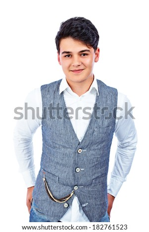 Handsome young man on a white background - stock photo