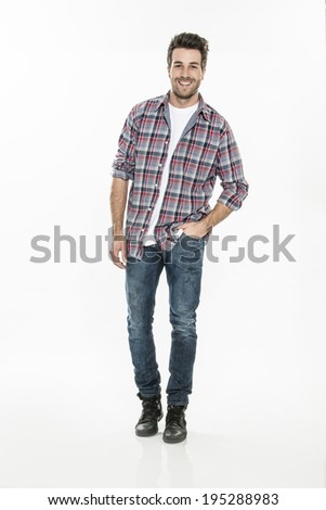 handsome young man on isolated background - stock photo