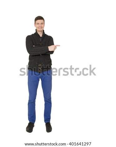 Handsome young  man points finger on the white background. - stock photo