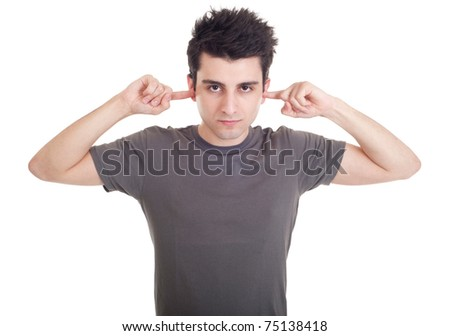 handsome young man portrait with fingers in ear not listening expression (isolated on white background) - stock photo