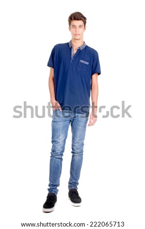 handsome young man posing isolated in white background - stock photo