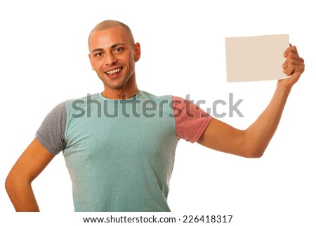 Handsome young man presenting situation with blank card in his hands isolated over white - stock photo
