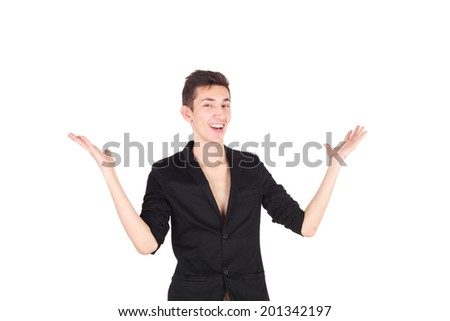 handsome young man showing something - stock photo
