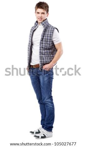 Handsome young man studio portrait - stock photo