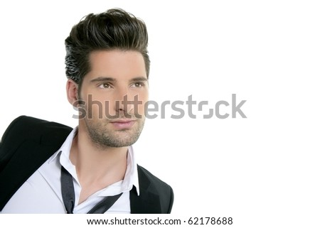 Handsome young man suit casual tie suit isolated on white - stock photo