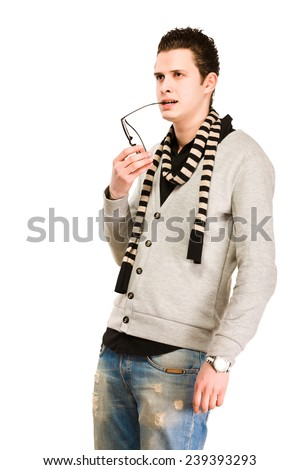 Handsome young man white background - stock photo
