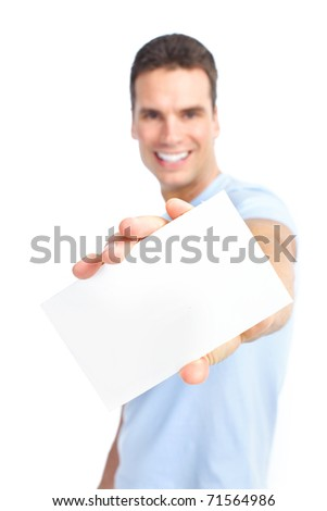 Handsome young man with a white blank. Isolated over white background - stock photo
