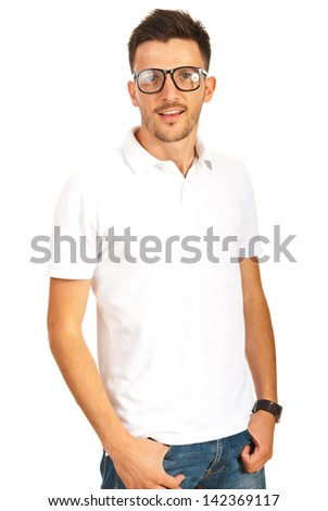 Handsome young man with eyeglasses and white t-shirt isolated on white background - stock photo