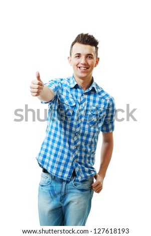 Handsome young man with thumbs up on an isolated white background - stock photo