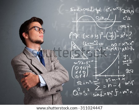 Handsome young school boy thinking about complex mathematical signs - stock photo