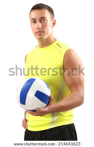 Handsome young sportsman holding ball isolated on white - stock photo
