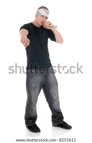 Handsome youngster, teenager hip hop, rapper singer with microphone,  white background - stock photo