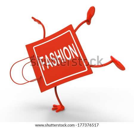 Handstand Fashion Shopping Bag Showing Fashionable Trendy And Stylish - stock photo