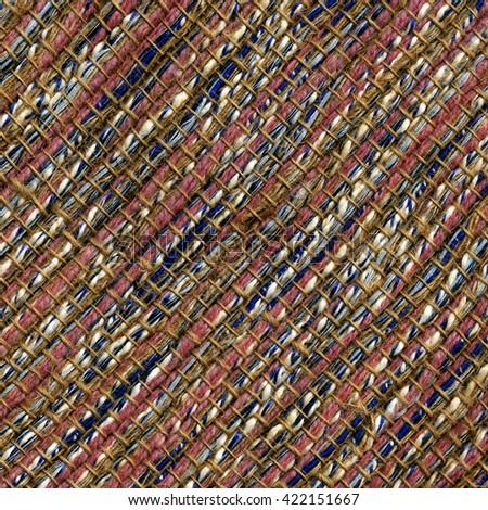 Handwoven woolen fabric, closeup detail - stock photo