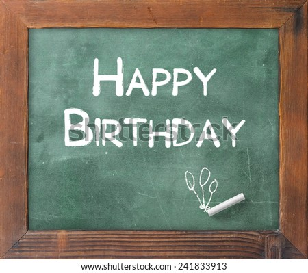 Handwriting text for HAPPY BIRTHDAY on green board. - stock photo