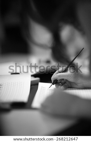 Handwriting with a fountain pen - stock photo