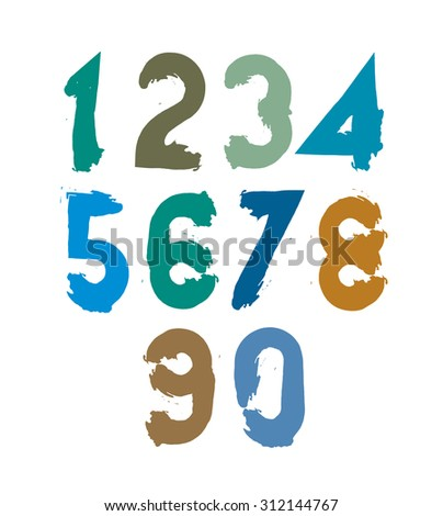 Handwritten contemporary digit set, doodle hand-painted numerals. - stock photo