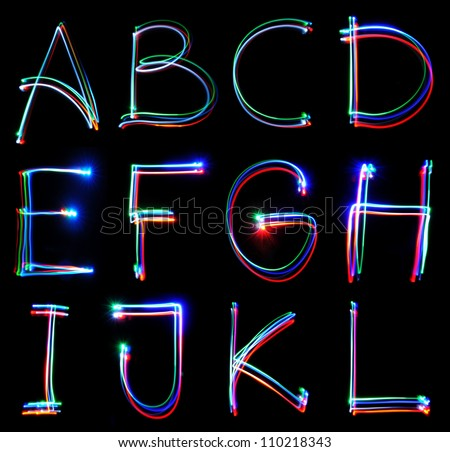 Handwritten Neon Light Alphabets - stock photo