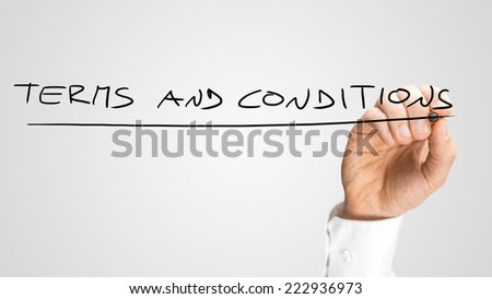 Handwritten Underlined Terms and Conditions Texts in All Uppercase, Isolated on Gray Background. - stock photo
