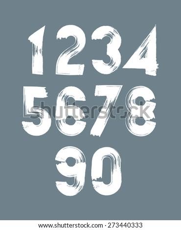 Handwritten white numbers, stylish numbers set drawn with ink brush. - stock photo