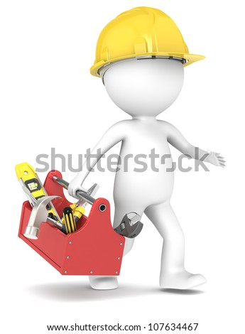 Handyman. 3D little human character The Builders running with a toolbox People series. - stock photo