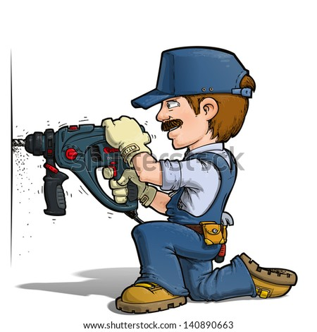 Handyman - Drilling Blue - stock photo