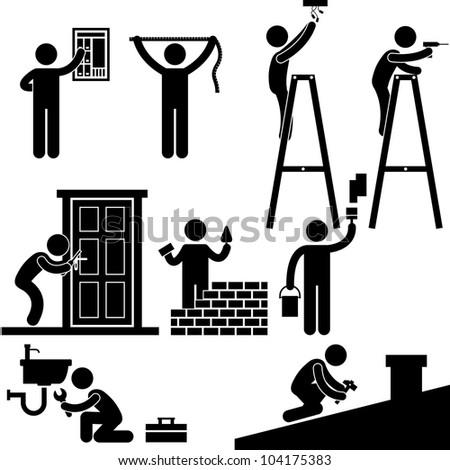 Handyman Electrician Locksmith Contractor Working Fixing Repair House Light Roof Icon Symbol Sign Pictogram - stock photo