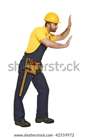 handyman in push position isolated on white background suitable for composition - stock photo