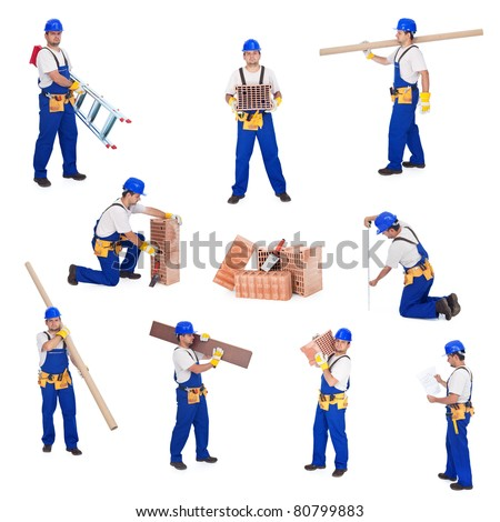 Handyman or worker involved in different activities - stock photo