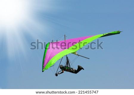 Hang gliding in Crimea taken in summer, Ukraine  - stock photo