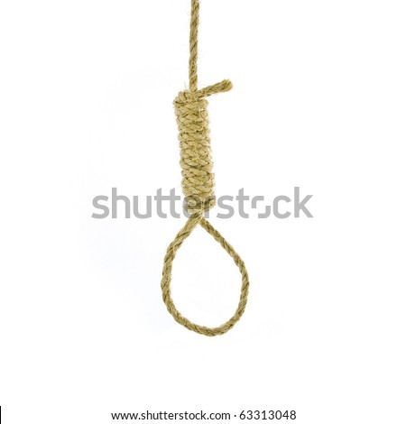 Hang mens  noose isolated on white, with traditional 13 loop knot - stock photo