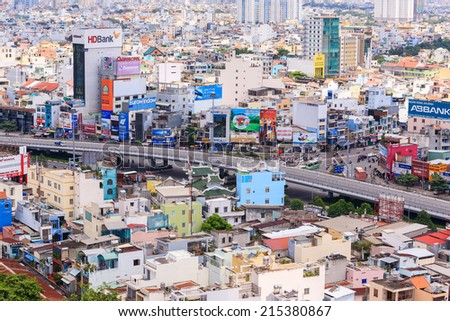 HANG XANH, HO CHI MINH CITY, VIETNAM - SEPTEMBER 2, 2014. Hang Xanh Overpass, Ho Chi Minh city, Vietnam. Ho Chi Minh city (or Saigon) is the biggest city in Vietnam. - stock photo
