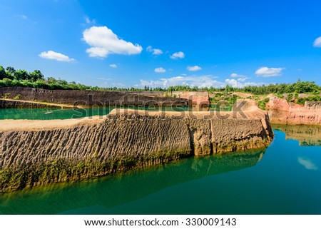 Hangdong Grand canyon in Chiang Mai, Thailand. Reservoir from old soil mine. - stock photo