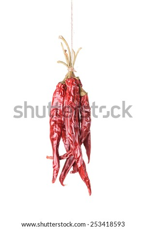Hanged dry and sear hot red chili peppers isolated on white background - stock photo