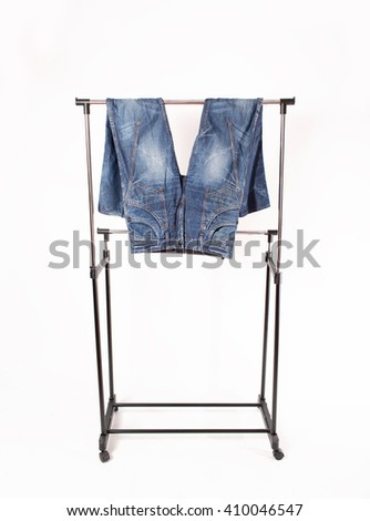 hanger for clothes. it is removed in studio on a white background - stock photo