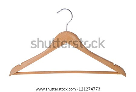 Hanger. Wood coat hanger on the background - stock photo