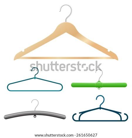 hangers set. isolated on white background - stock photo