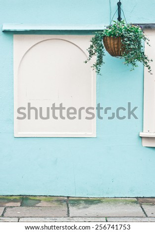 Hanging basket in front of a blue and white external wall - stock photo