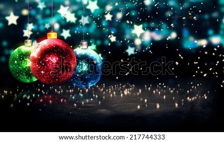 Hanging Baubles Christmas Blue Star Night Bokeh Beautiful 3D - stock photo