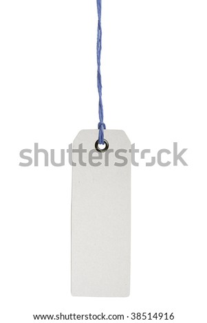 Hanging blank product info label isolated on white background with clipping path - stock photo