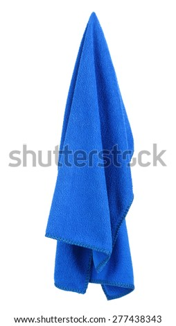 Hanging blue and clean towel - stock photo