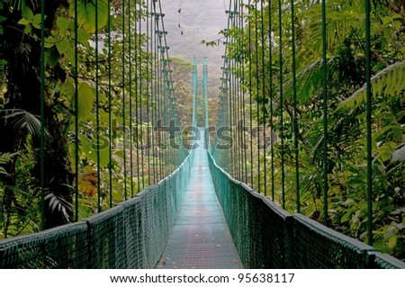 Hanging Bridge, Monteverde Cloud Forest, Costa Rica - stock photo