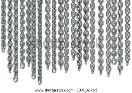 Hanging chains isolated on white background - stock photo