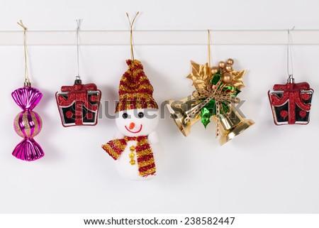 Hanging christmas decoration isolated on white background. - stock photo
