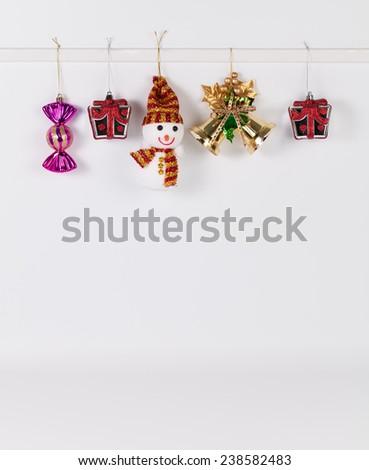 Hanging christmas decoration isolated on white background - stock photo