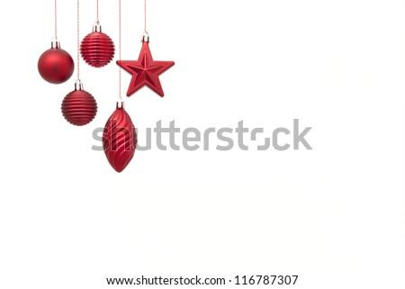 Hanging christmas decoration on white background - stock photo