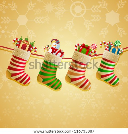 Hanging christmas socks with present. Check my portfolio for vector version. - stock photo