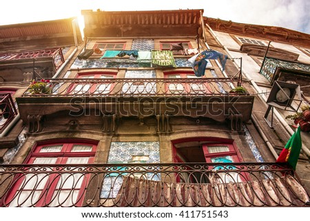 Hanging clothes in the city of Porto, Portugal - stock photo