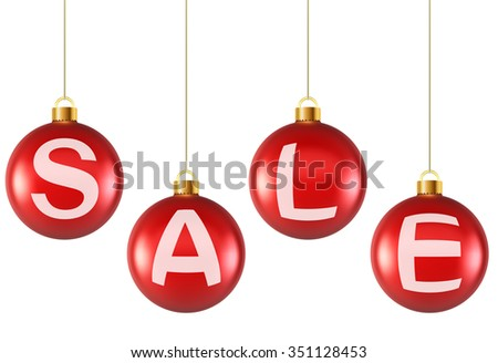 Hanging decoration Christmas red balls with sale letters. - stock photo