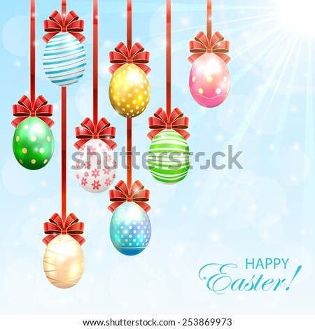 Hanging Easter eggs with bow on sunny background, illustration. - stock photo